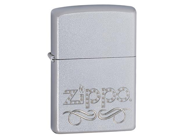 Zippo ZOZO24335 Traditional Lighter Scroll Satin Chrome World Famous Lighter