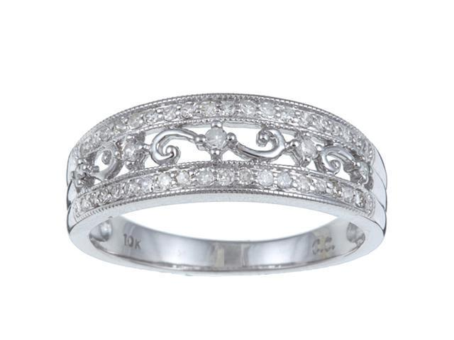 10k White Gold 1/3 TDW Vintage Antique Pave Diamond Ring (G-H, I1-I2) - size 7.5