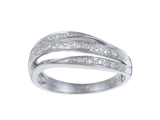 10k White Gold 1/8 TDW Curved Pave Split Diamond Ring (G-H, I1-I2) - size 6.5