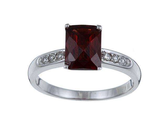 White Gold Garnet and Diamond Ring (1/10 TDW)