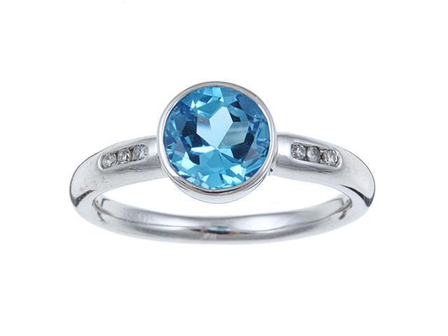 White Gold Round Blue Topaz and Diamond Ring