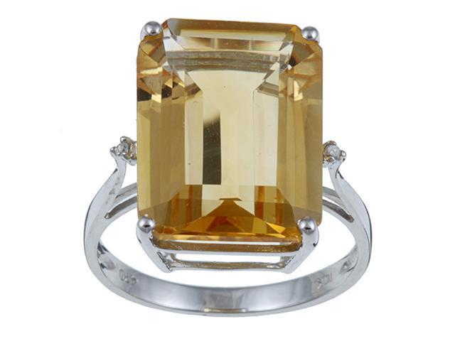 10k White Gold Emerald Cut Citrine and Diamond Ring - size 7.5
