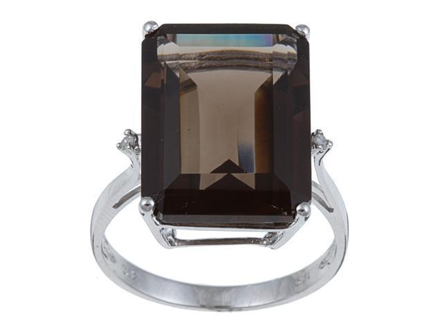 10k White Gold Emerald Cut Smokey Topaz and Diamond Ring - size 6.5