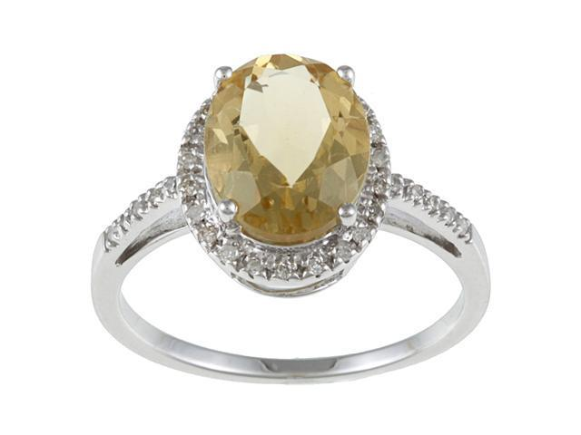10k White Gold Oval Citrine and Diamond Ring (1/10 TDW)- size 5