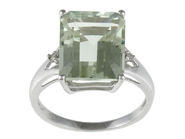 10k White Gold Emerald Cut Green Amethyst and Diamond Ring- size 5