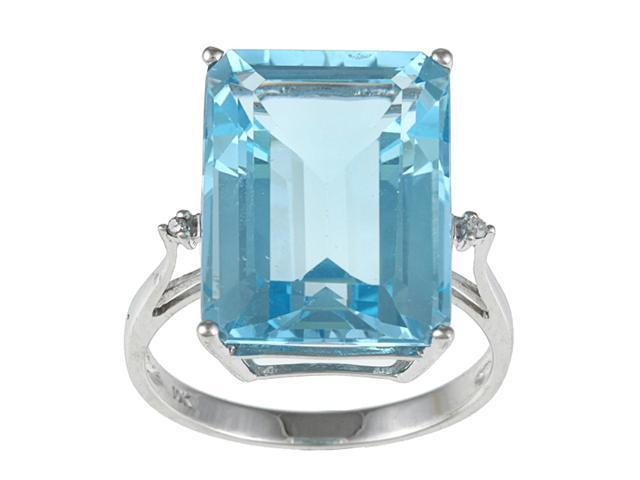 10k White Gold Emerald Cut Large Blue Topaz and Diamond Ring- size 6