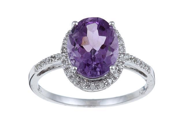 10k White Gold Oval Amethyst and Diamond Ring (1/10 TDW)- size 8.5