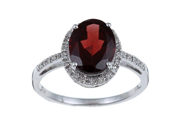 10k White Gold Oval Garnet and Diamond Ring (1/10 TDW) size 7.5