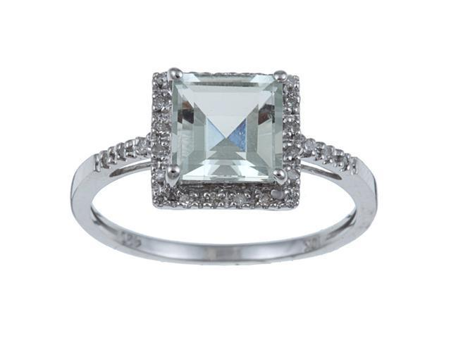 10k White Gold Square Green Amethyst and Diamond Ring (1/10 TDW) size 7