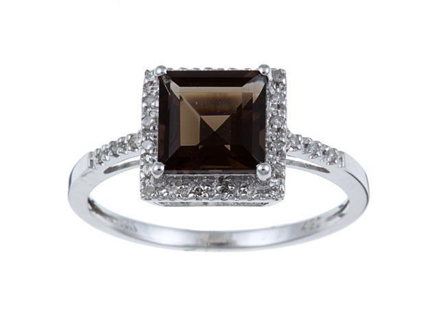 10k White Gold Square Smokey Topaz and Diamond Ring (1/10 TDW) size 6.5