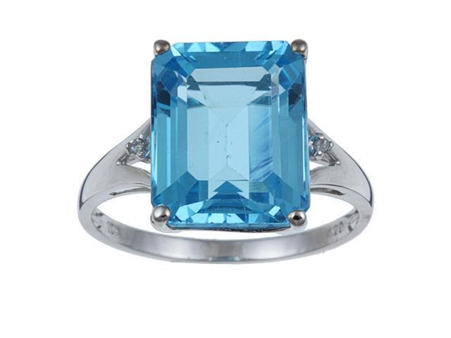 10k White Gold Emerald Cut Blue Topaz and Diamond Ring size 8.5