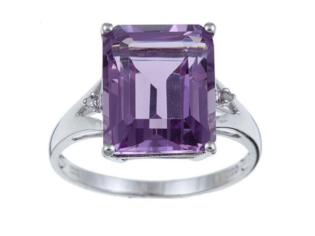 10k White Gold Emerald Cut Amethyst and Diamond Ring size 8