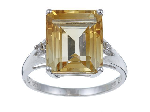 10k White Gold Emerald Cut Citrine and Diamond Ring size 7.5