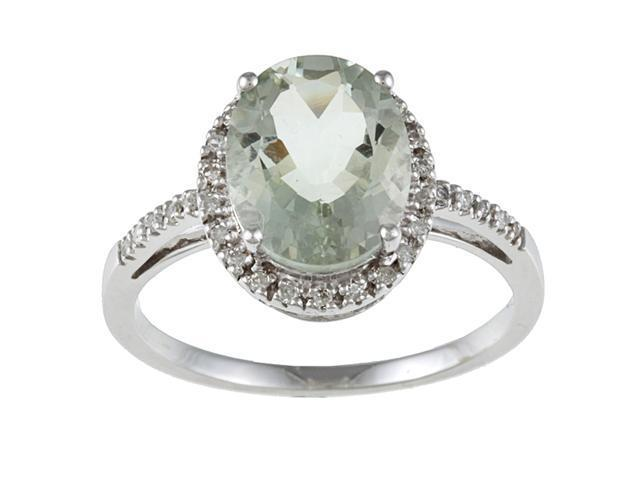 10k White Gold Oval Green Amethyst and Diamond Ring (1/10 TDW)- size 8