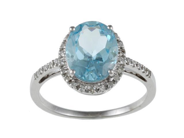 10k White Gold Oval Blue Topaz and Diamond Ring (1/10 TDW)- size 6.5