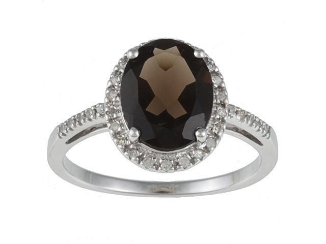 10k White Gold Oval Smokey Topaz and Diamond Ring (1/10 TDW)- size 6