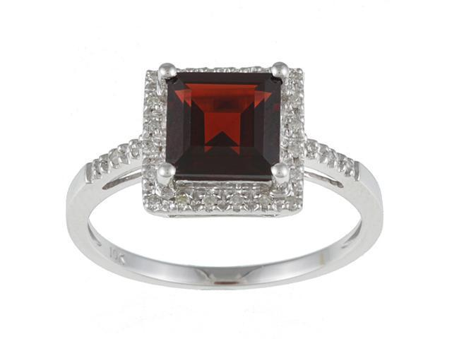 10k White Gold Square Garnet and Diamond Ring (1/10 TDW)- size 7.5