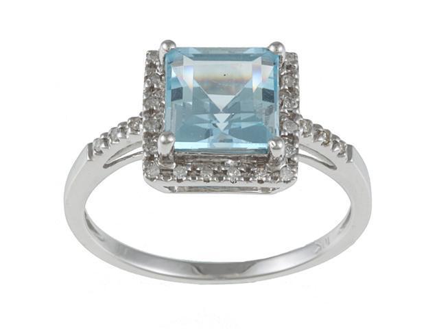 10k White Gold Square Blue Topaz and Diamond Ring (1/10 TDW)- size 6