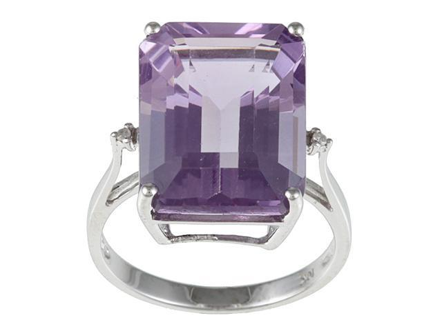 10k White Gold Emerald Cut Large Amethyst and Diamond Ring- size 7