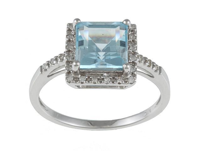 10k White Gold Square Blue Topaz and Diamond Ring (1/10 TDW)- size 7.5