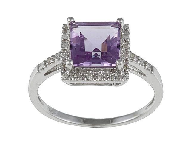 10k White Gold Square Amethyst and Diamond Ring (1/10 TDW)- size 8.5