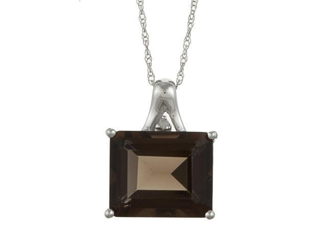 10k White Gold 5.6cttw Emerald-Cut Smokey Topaz and Diamond Pendant Necklace