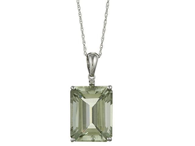 10k White Gold 11.05cttw Emerald-Cut Green Amethyst and Diamond Pendant Necklace