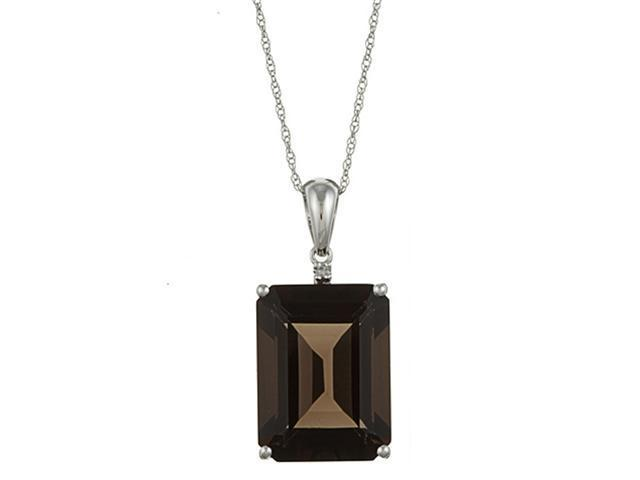 10k White Gold 11.05cttw Emerald-Cut Smokey Topaz and Diamond Pendant Necklace