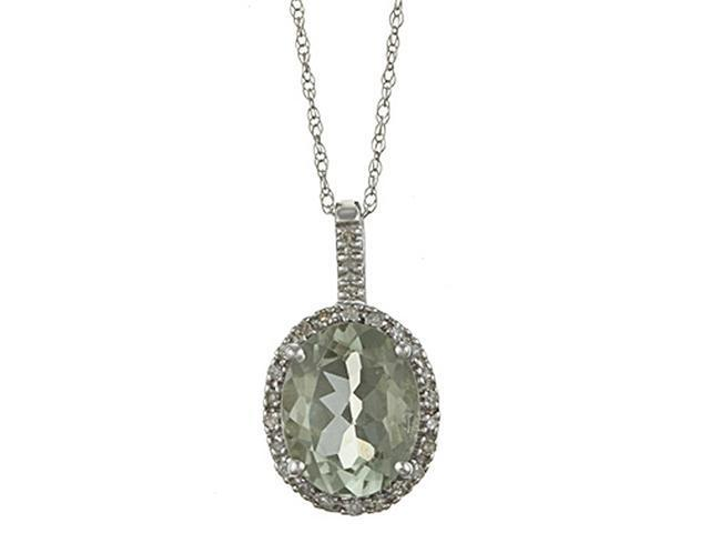 10k White Gold 3.6cttw Oval Green Amethyst and Diamond Pendant Necklace