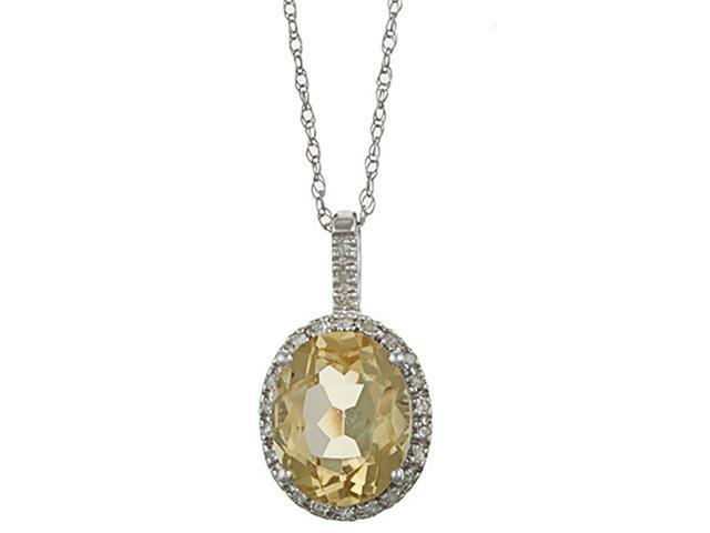 10k White Gold 3.6cttw Oval Citrine and Diamond Pendant Necklace