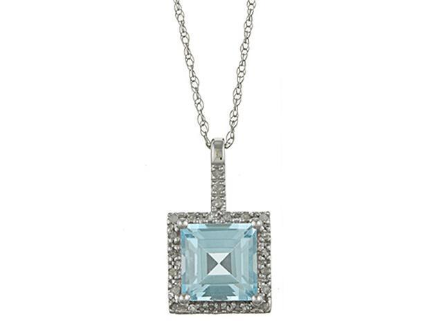 10k White Gold 2.6cttw Square Blue Topaz and Diamond Pendant Necklace