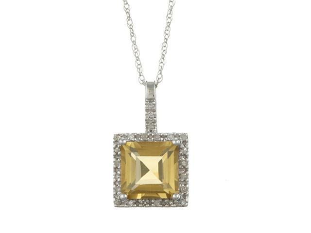 10k White Gold 2.6cttw Square Citrine and Diamond Pendant Necklace