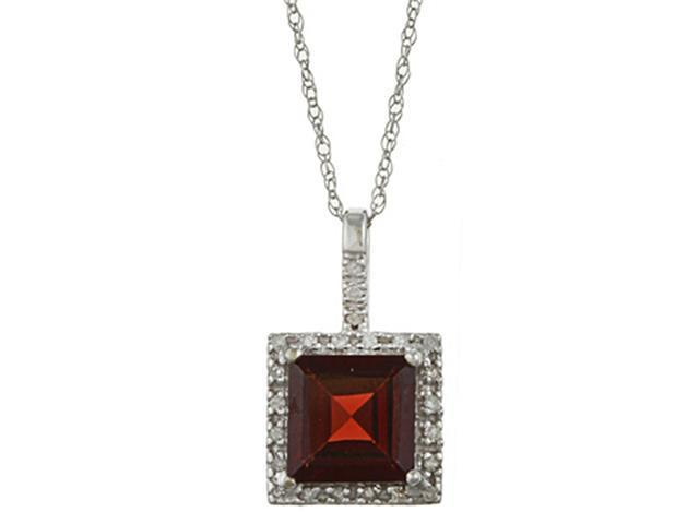 10k White Gold 2.6cttw Square Garnet and Diamond Pendant Necklace