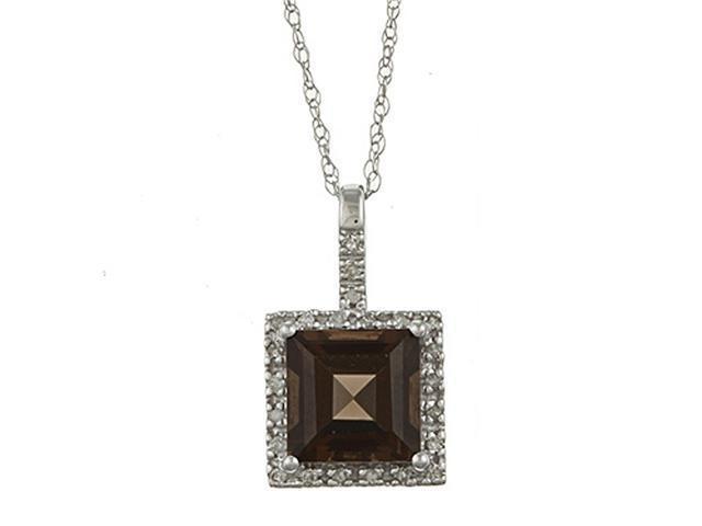 10k White Gold 2.6cttw Square Smokey Topaz and Diamond Pendant Necklace