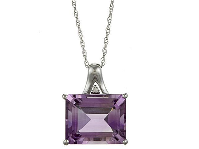 10k White Gold 5.6cttw Emerald-Cut Amethyst and Diamond Pendant Necklace