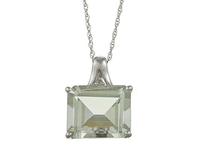 10k White Gold 5.6cttw Emerald-Cut Green Amethyst and Diamond Pendant Necklace