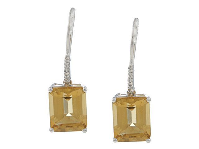 10k White Gold Emerald-Cut Citrine and Diamond Earrings