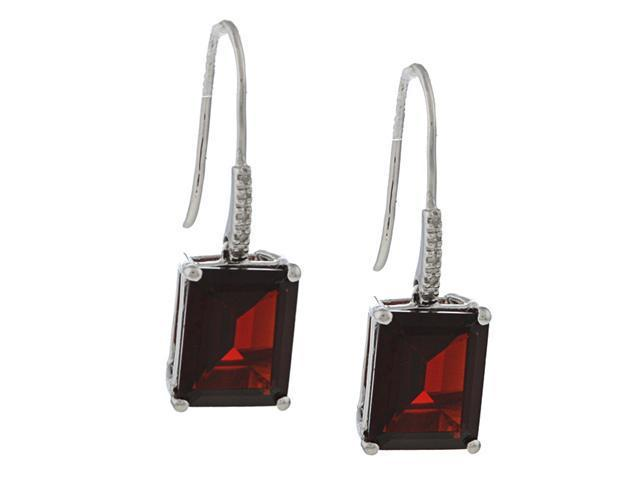10k White Gold Emerald-Cut Garnet and Diamond Earrings