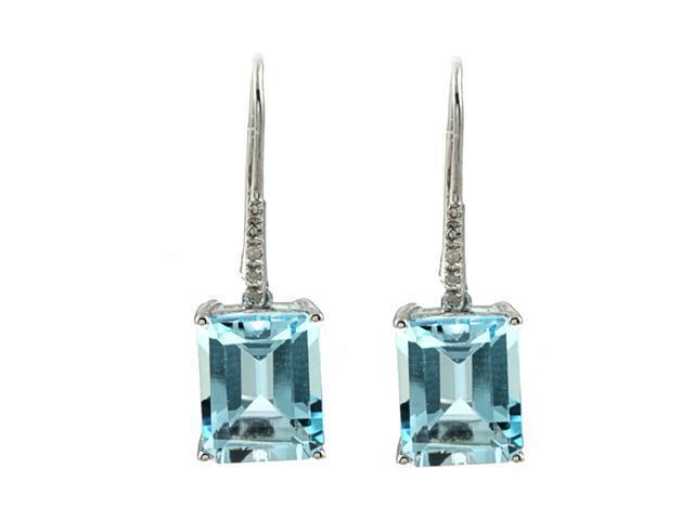 10k White Gold Emerald-Cut Blue Topaz and Diamond Earrings