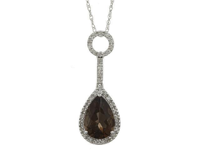 10k White Gold 3.16cttw Pear Smokey Topaz and Diamond Pendant Necklace