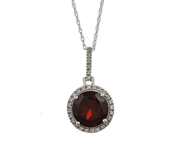 10k White Gold 3.10cttw Round Garnet and Diamond Pendant Necklace