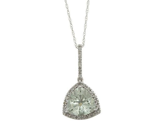 10k White Gold 3.6cttw Trillion Green Amethyst and Diamond Pendant Necklace