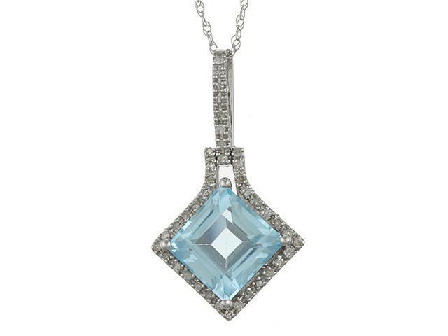 10k White Gold 3.16cttw Square Blue Topaz and Diamond Pendant Necklace