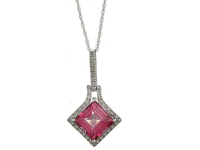 10k White Gold 3.16cttw Square Pink Topaz and Diamond Pendant Necklace