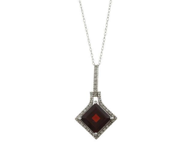 10k White Gold 3.16cttw Square Garnet and Diamond Pendant Necklace