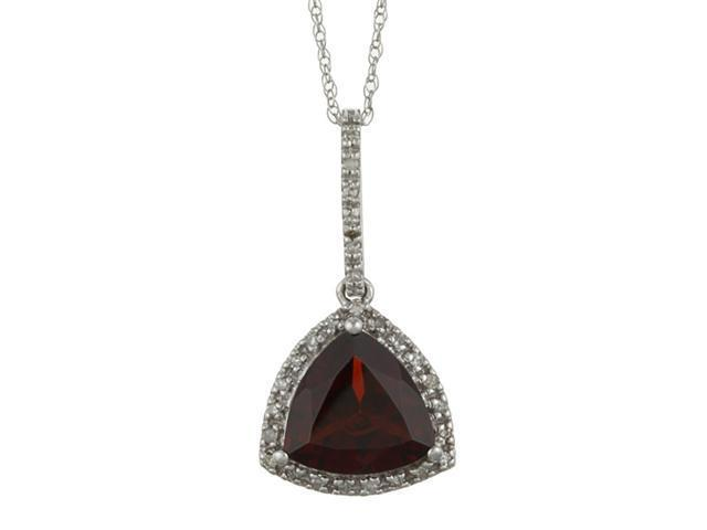 10k White Gold 3.6cttw Trillion Garnet and Diamond Pendant Necklace