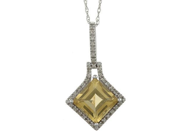 10k White Gold 3.16cttw Square Citrine and Diamond Pendant Necklace