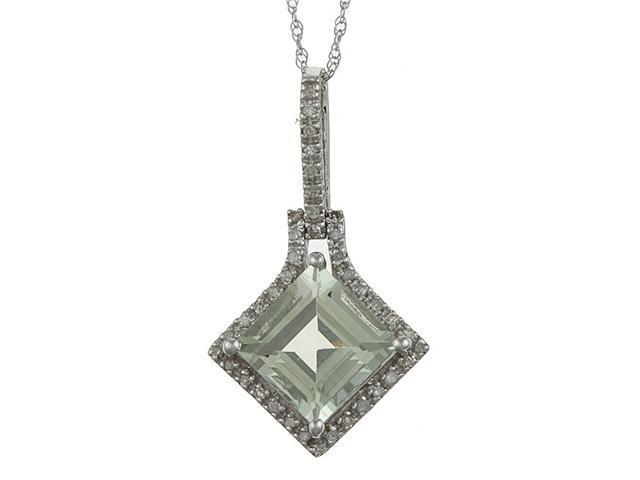 10k White Gold 3.16cttw Square Green Amethyst and Diamond Pendant Necklace