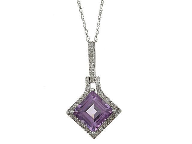 10k White Gold 3.16cttw Square Amethyst and Diamond Pendant Necklace
