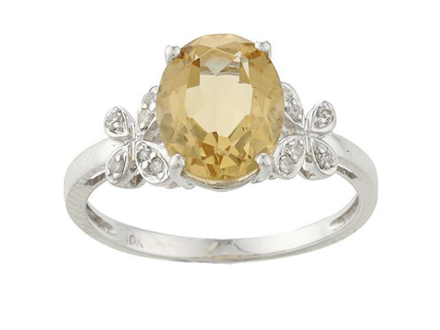 10k White Gold Oval Citrine and Diamond Ring (1/10 TDW) - size 5